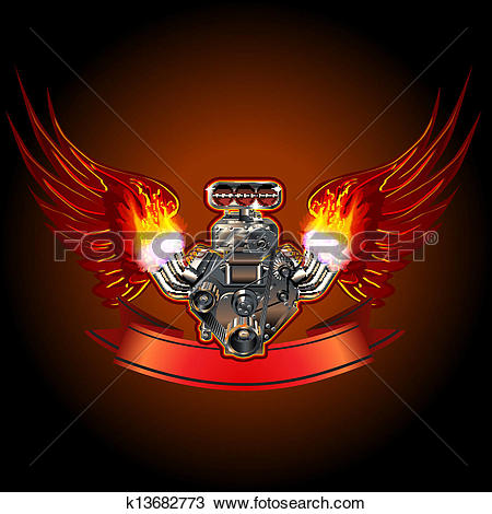 Clipart of Turbo Engine with Wings k13682773.