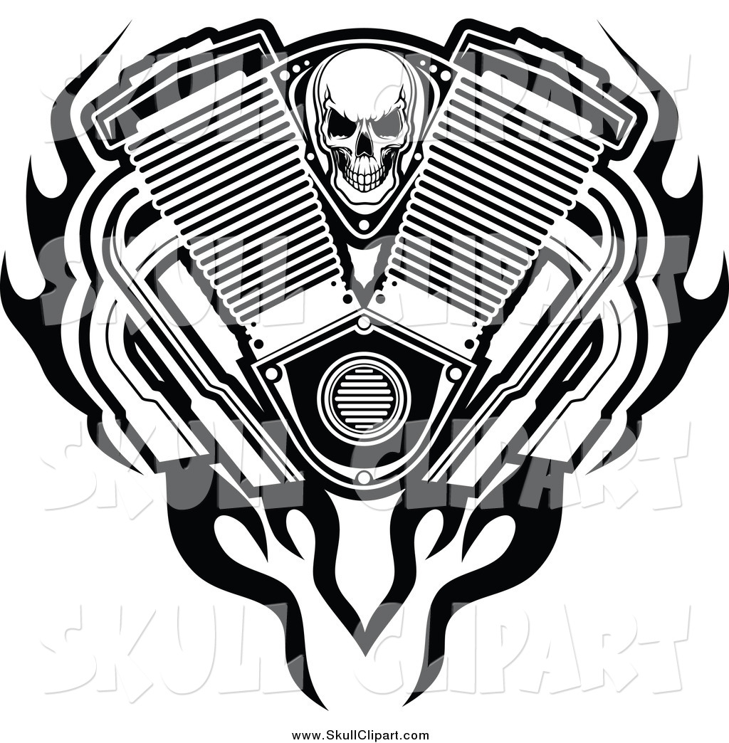 Vector Clip Art of a Black and White Skull, Engine Flames and.