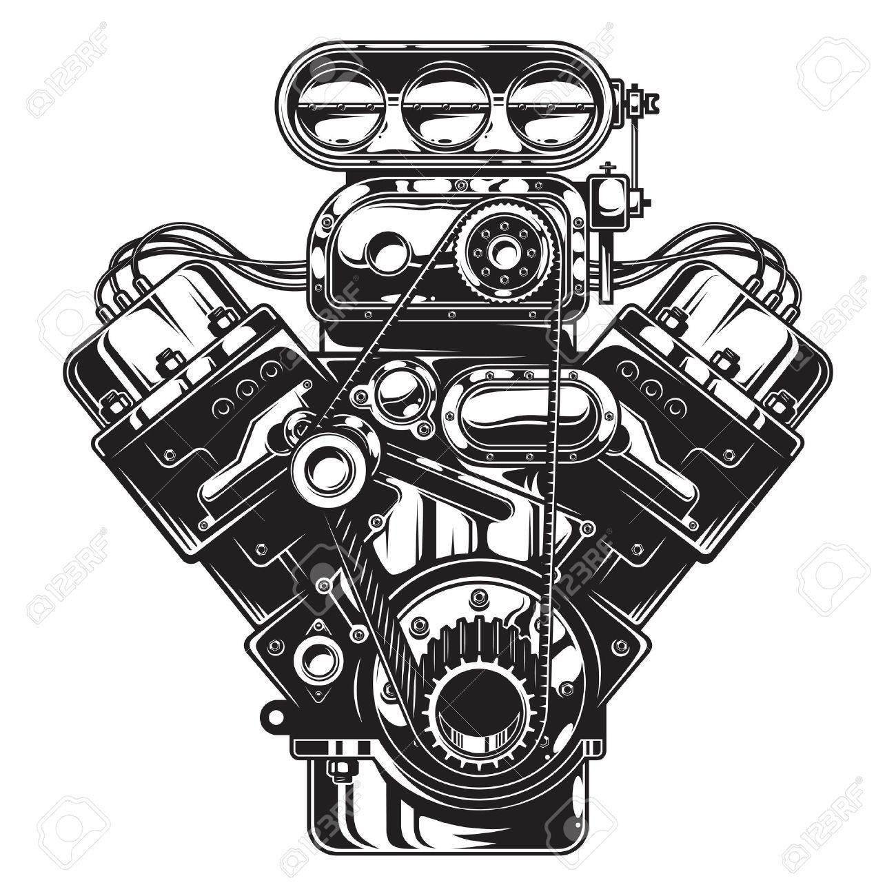 Car Engine Clipart Black And White.