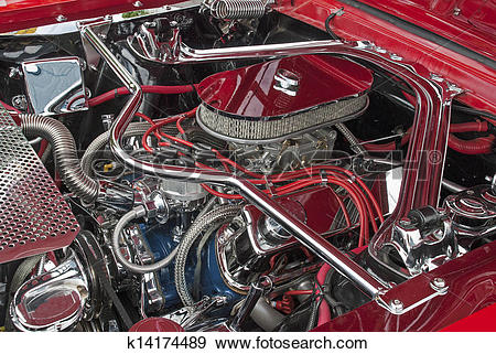 Stock Photograph of Customized V8 engine compartment k14174489.