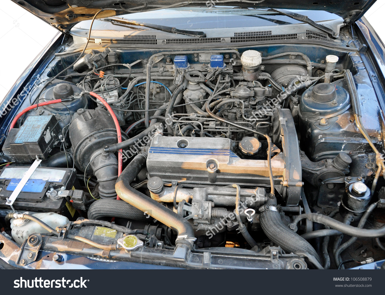 Automotive Engine Compartment Old Car Stock Photo 106508879.
