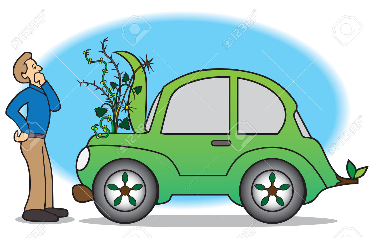 Owner Of Green Car Discovers Weeds Growing Out Of Engine.