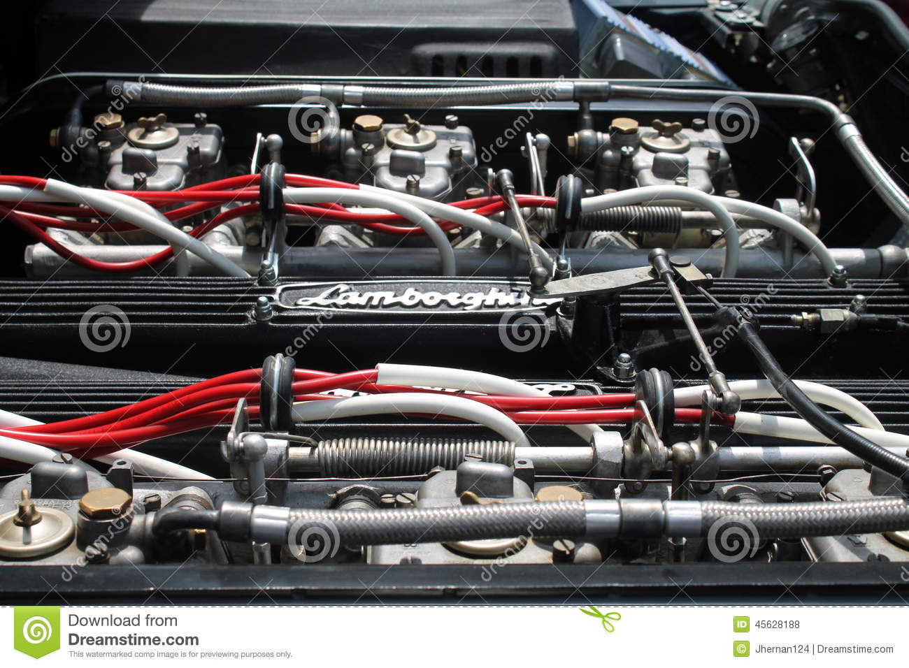 Vintage Sports Car Engine Bay View Editorial Stock Photo.