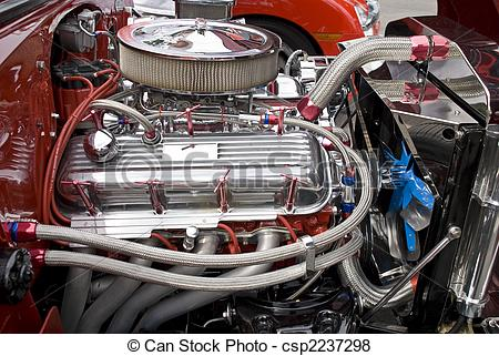 Pictures of V8 engine compartment with chromed components.