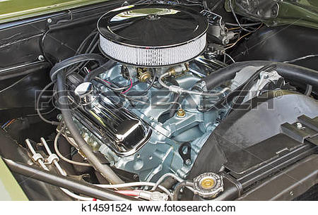 Stock Photo of Customized V8 engine compartment k14591524.
