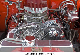 Stock Photography of V8 engine compartment.