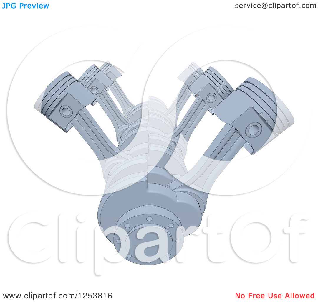 Clipart of a 3d V8 Engine on White.