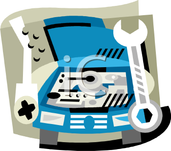Royalty Free Clipart Image: Car at the Repair Shop with It's Hood Open.