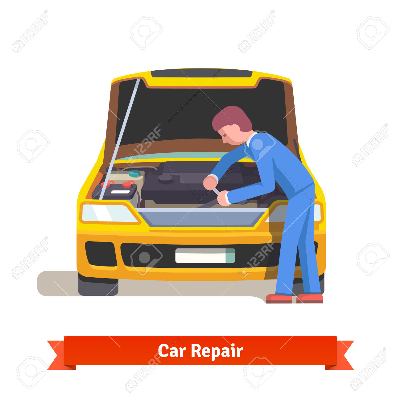 Car Mechanic Under The Hood In Uniform Repairs Engine At Car.