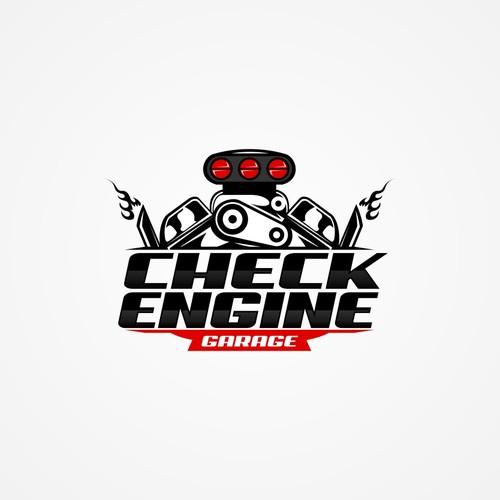 Check Engine Garage logo design for sport racing cars.