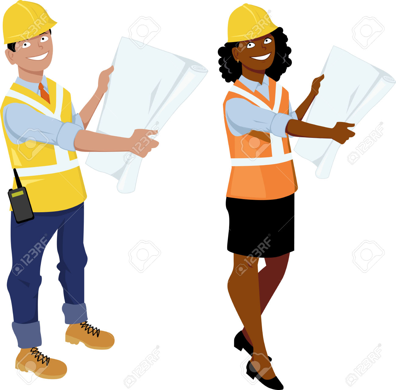 Male And Female Architect Or Engineer Characters, Wearing Hard.