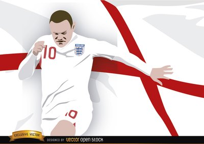 England footballer Wayne Rooney with flag Clipart Picture.