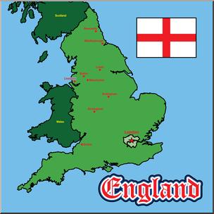 Clip Art: England Map Color Labeled I abcteach.com.