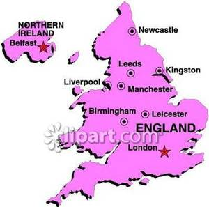 Map of England With Cities.