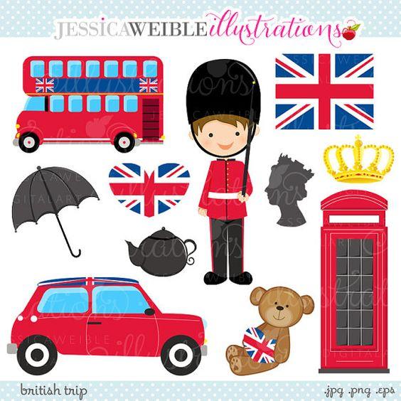 British Trip Cute Digital Clipart.