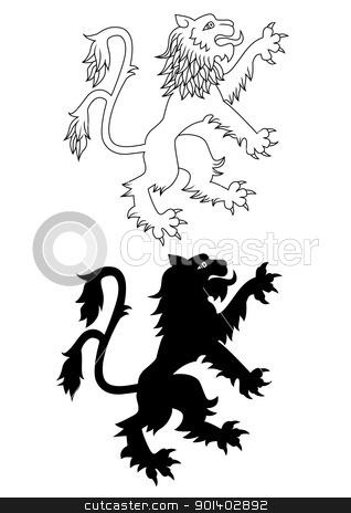 Heraldic lion stock vector.