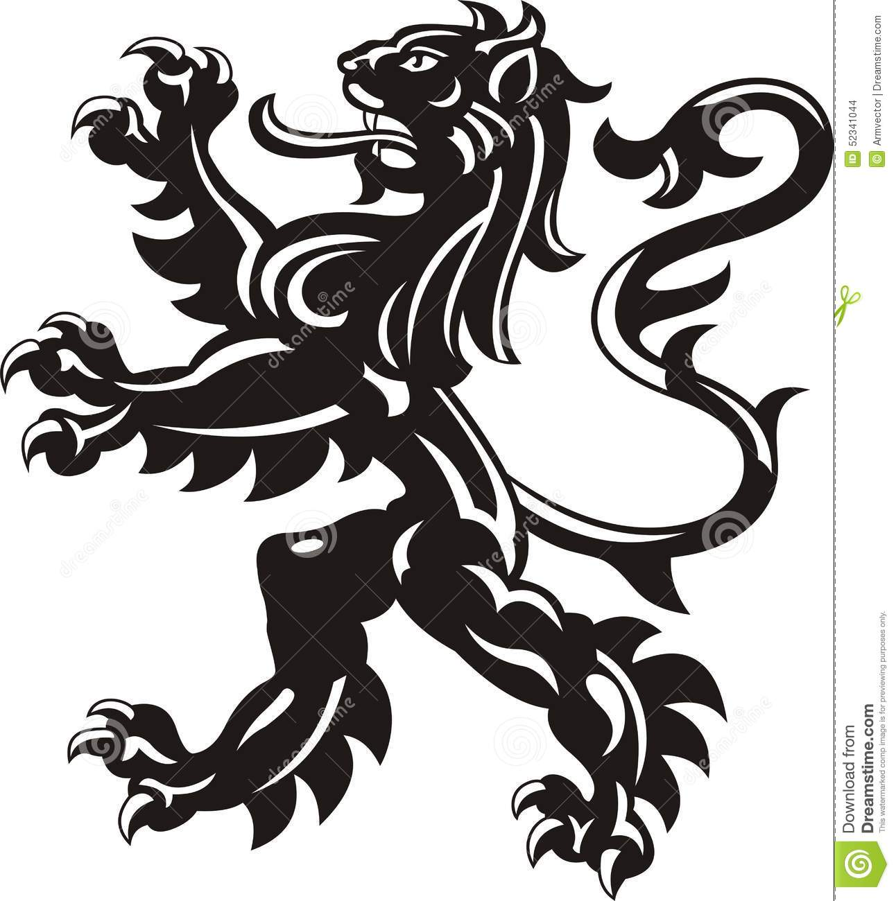 Heraldic Lion Tattoo Stock Vector.