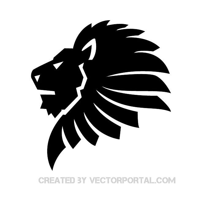 Black lion clipart.