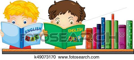 Kids reading English book Clipart.