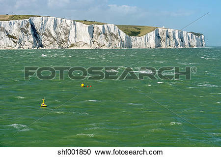 Stock Photography of UK, Dover, view from stormy English Channel.