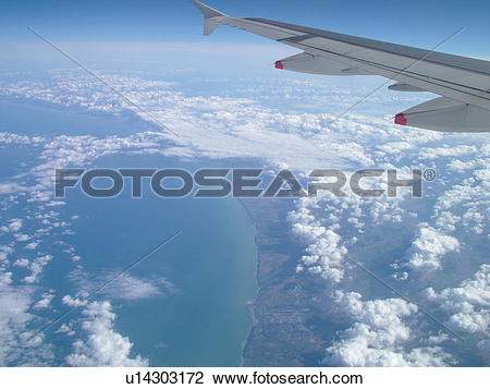 Stock Photo of Normandy, France, Europe, aerial, flying over the.