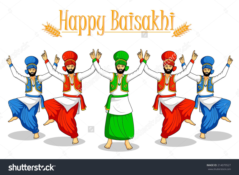 Sikh Doing Bhangra Folk Dance Punjab Stock Vector 214079527.