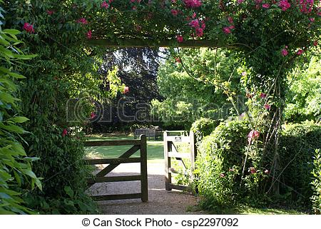 Stock Photo of Gate entrance in the old English garden csp2297092.