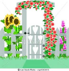 English Garden Gate Clip Art.