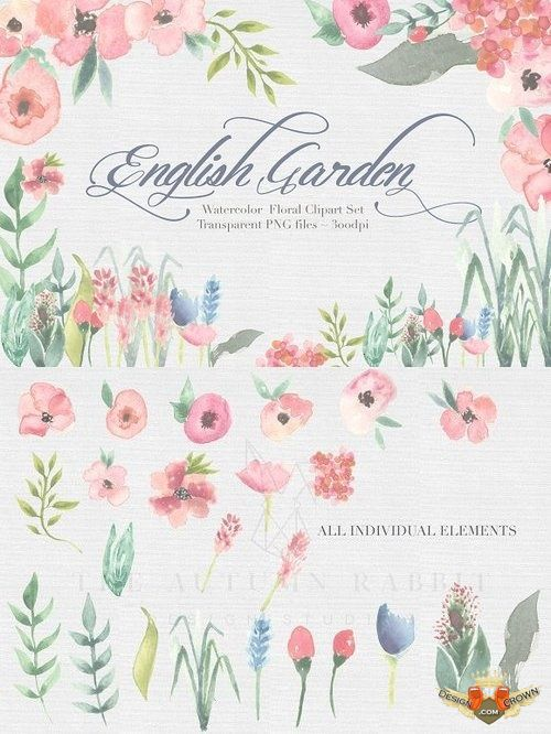 English garden watercolor clip art 435052.