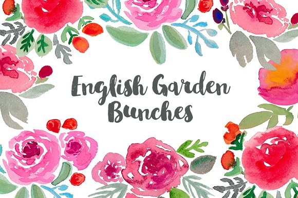 English Garden Watercolor Clip art ~ Illustrations on Creative Market.