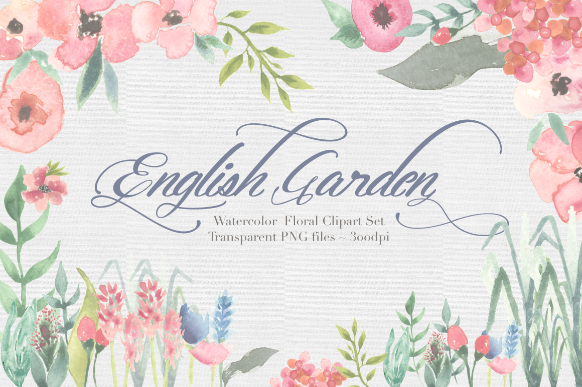 English Garden Watercolor clipart Set by The Autumn Rabbit.