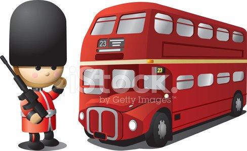 Royal English Guard and London Bus Clipart Image.