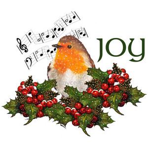 Clip Art Christmas JOY With English Robin Bird And Holly, jp.