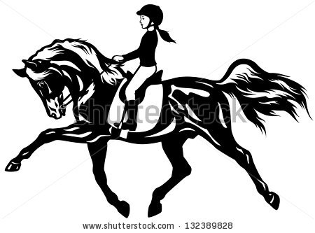 Jumping Horseblack White Picture Isolated On Stock Vector.