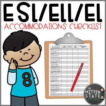 ELL / ESL / EL Accommodation Checklist EDITABLE {English Language Learners}.