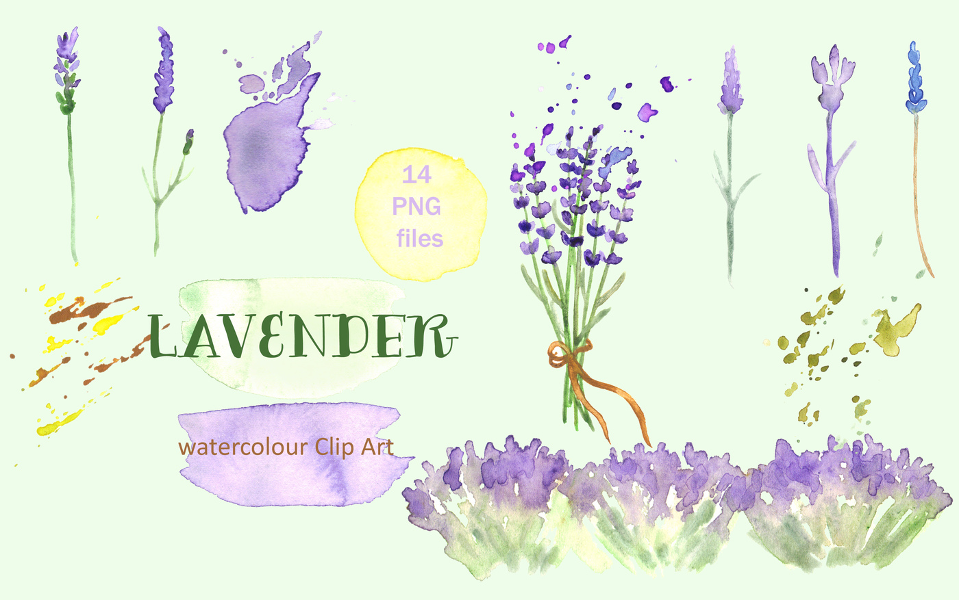 Lavender watercolor clip art by LABFcreations.
