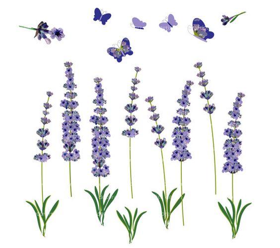 Flower clip art, vintage lavender, botanical flowers,butterfly.