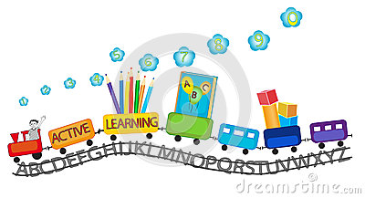 Kids learning english clipart.