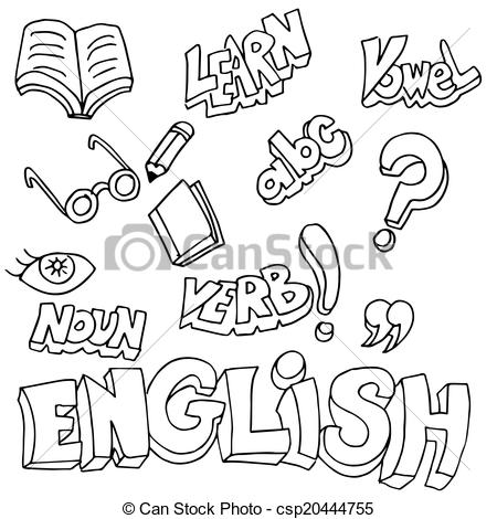 Clipart Vector of English Symbols and Learning Items.