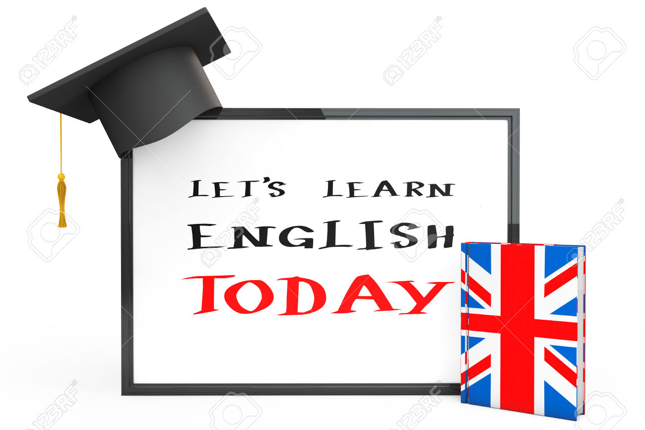 English Learning Concept. Graduation Cap, Chalkboard And English.