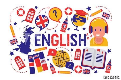 British english language learning class vector illustration.