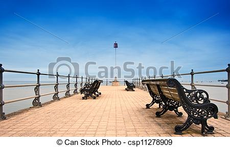 Stock Photography of Victorian era pier at English seaside resort.