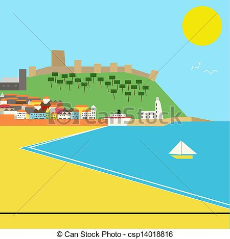 Vector Clip Art of Seaside town vector landscape in a deco style.