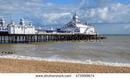 Eastbourne Pier Beach English Seaside Victorian Stock Photo.