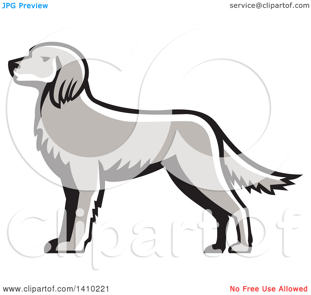 Clipart of a Retro Grayscale English Setter Dog.