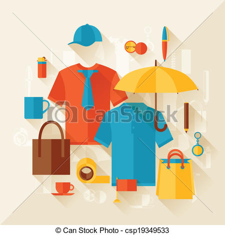 Vectors of Advertising background with promotional gifts and.
