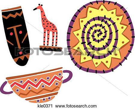 Clipart of African tourist souvenirs and crafts kle0371.