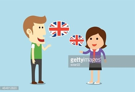 Women and man speaking English Clipart Image.