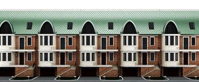 English Street Terraced Houses Stock Illustrations.