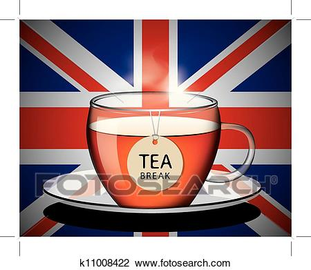 Cup of english tea vector Clipart.